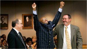 Patrik Waller celebrates his victory after 16 years in prison. By Tony Gutierrez/Associated Press
