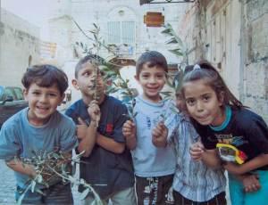 Palestinian kids in East Jerusalem the Palm Sunday