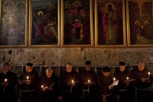 Franciscans friars celebrating Easter in Jerusalem