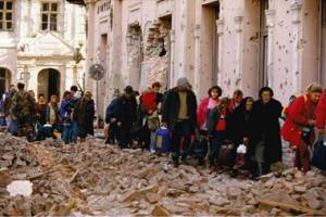 Civilians evacuated from Vukovar after the siege and the fall of the city