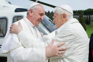 Pope Francis embraces Pope emeritus Benedict XVI in Castel Gandolfo
