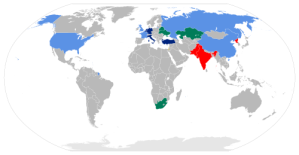Map of nuclear-armed states of the world. (Wikipedia)