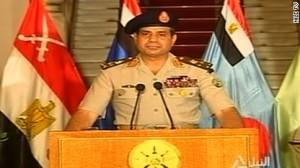 General Al Sisi during his televised statement.