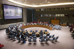 UN Humanitarian Chief Valerie Amos briefs Security Council via video from Geneva. UN Photo/Eskinder Debebe
