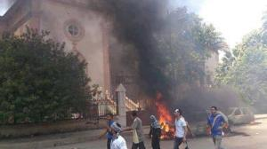 Church burning in Suez (twiter)