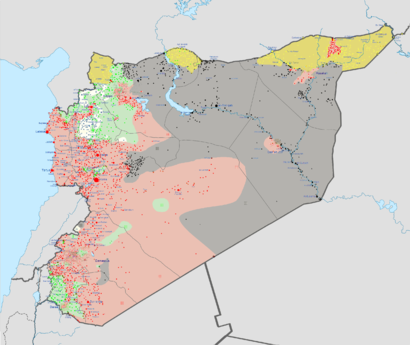 Source: Wikipedia. Red:Syrian government. Grey: ISIL. Yellow: Kurds. Green: Rebels.